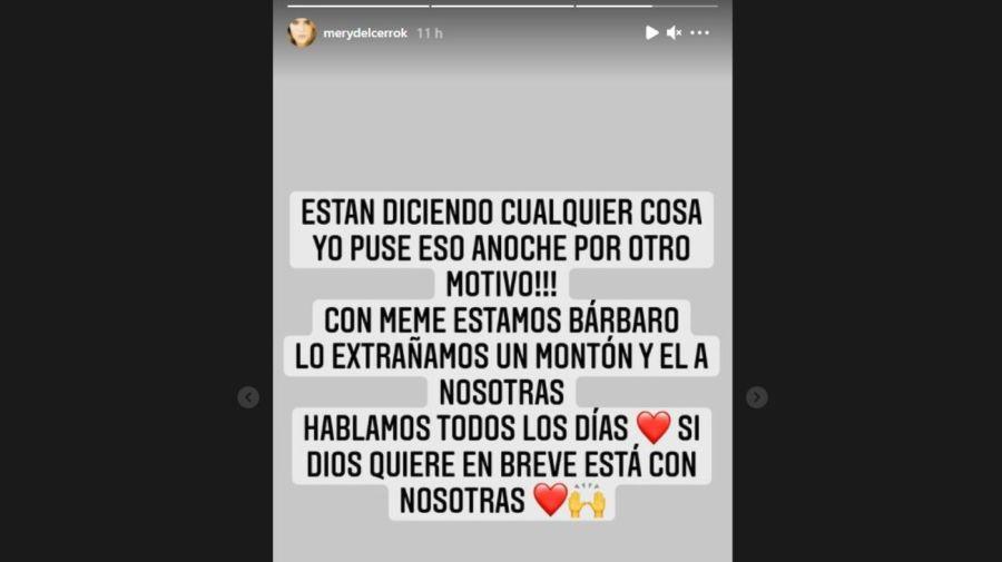 Aclaracion Mery del Cerro rumores infidelidad Meme Bouquet