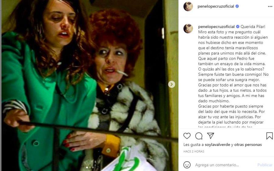 La despedida de Penélope Cruz a Pilar Bardem
