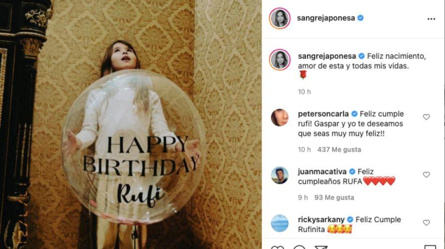 Rufina cumplió años y la China Suárez compartió imágenes del particular festejo