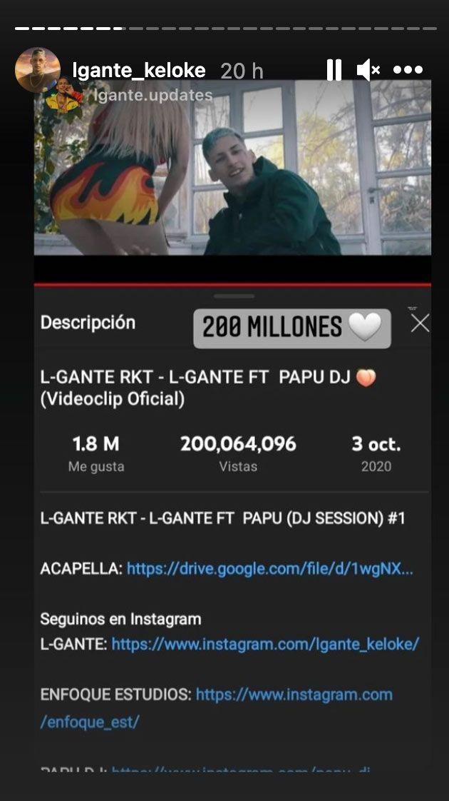 Story e L.Gante festejando las 200 millones de vistas en Youtube