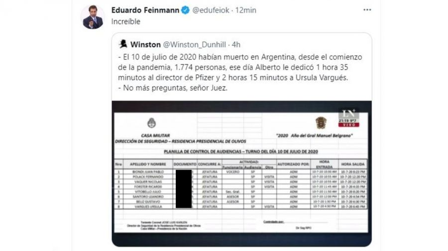 Eduardo Feinmann reaccion visita Ursula Vargues Quinta de Olivos