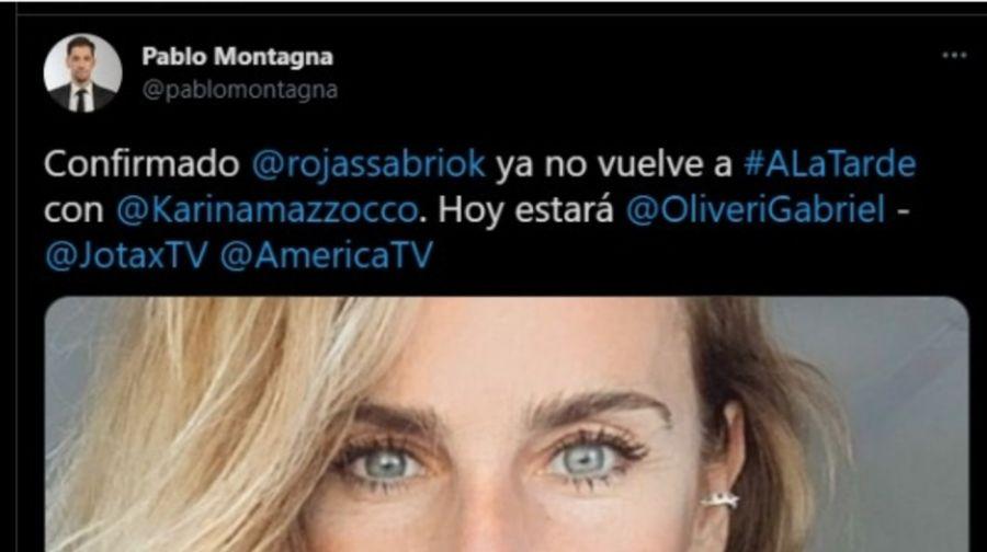 Sabrina Rojas deja el panel de A la Tarde, el programa de KarinaMazzocco