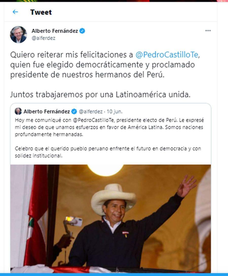 Tweet de Cristina Kirchner 20210720