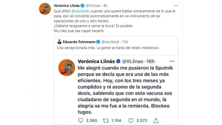 Veronica Llinas cruzo a Eduardo Feinmann
