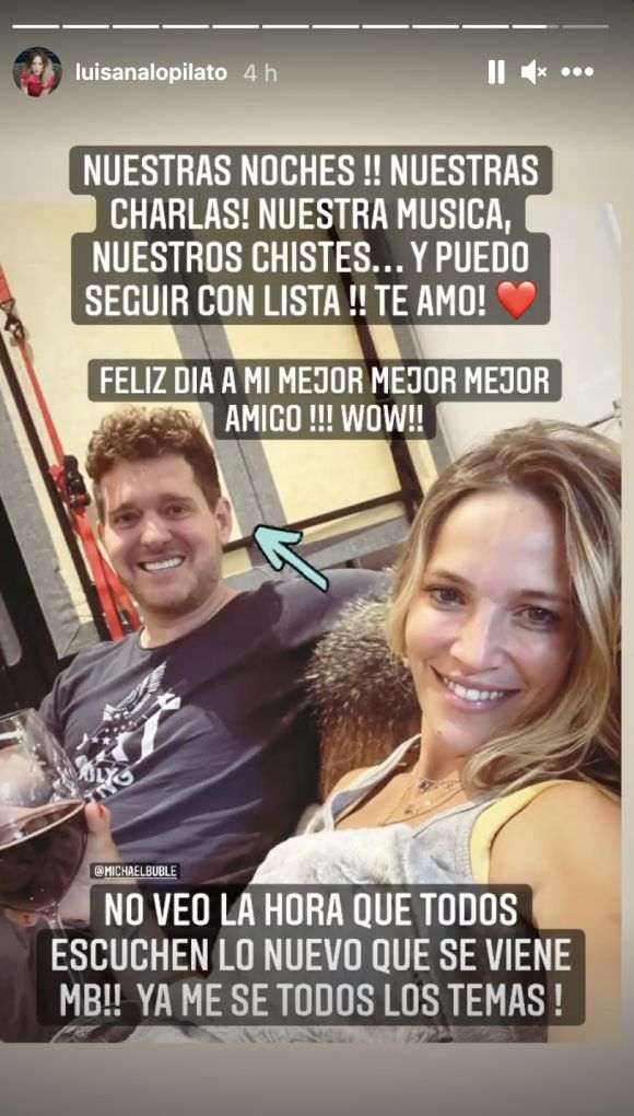 Luisana Lopilato le dedicó un romántico mensaje a Michael Bublé