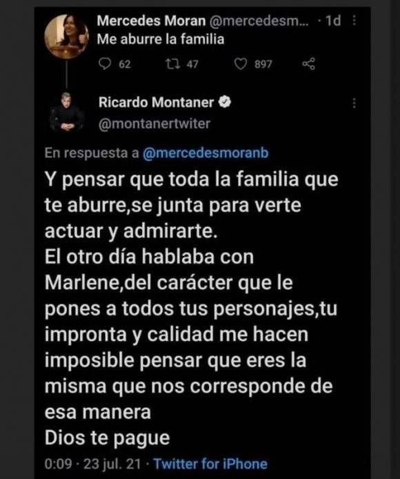 Fuerte mensaje de Ricardo Montaner contra Mercedes Morán: