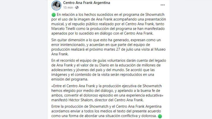 Acuerdo Marcelo Tinelli y el Centro Ana Frank