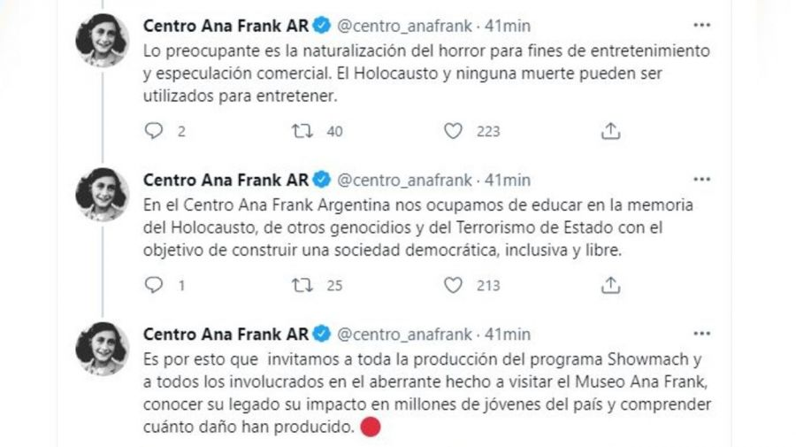 Descargo Centro Ana Frank contra Showmatch y Marcelo Tinelli