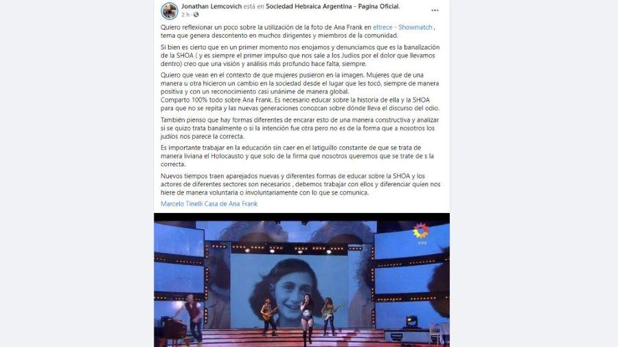Descargo presidente Sociedad Hebraica Argentina por polemica Ana Frank en Showmatch