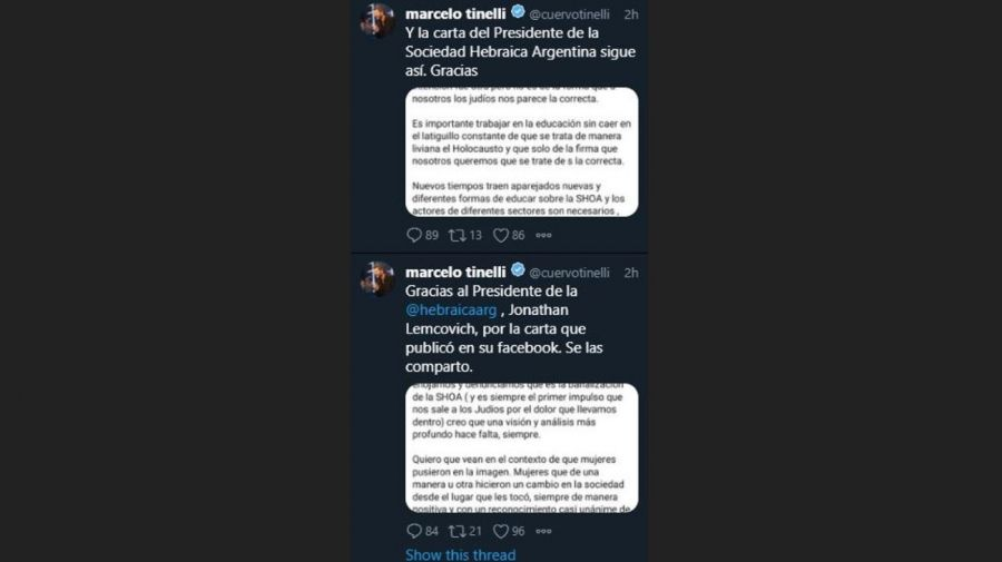 Marcelo Tinelli mensaje Presidente Sociedad Hebraica Argentina