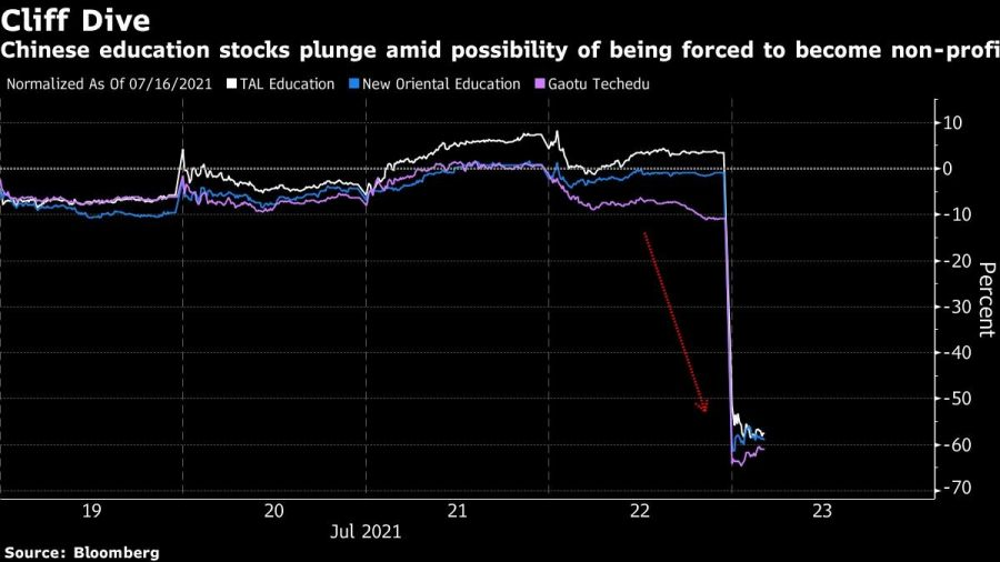 Chinese education stocks plunge amid possibility of being forced to become non-profit
