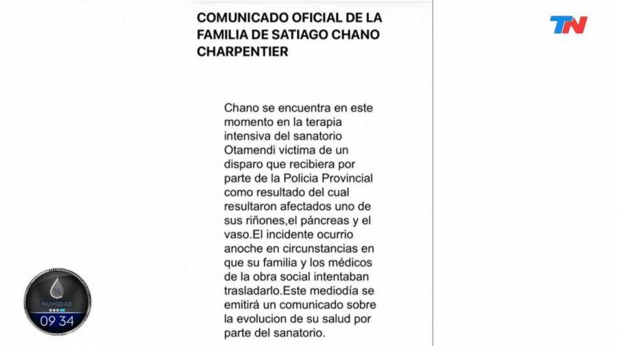 Comunicado familia Chano Moreno Charpentier