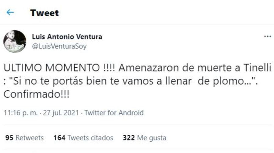Amenaza a Marcelo Tinelli