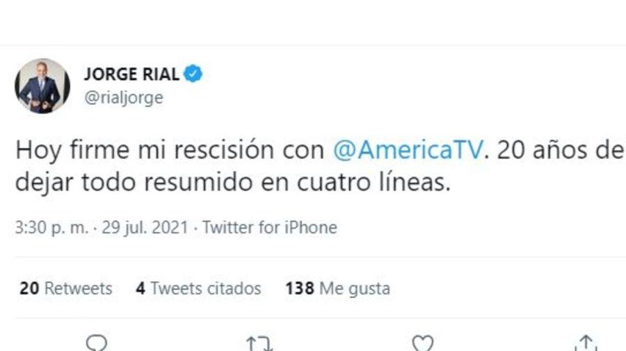 Jorge Rial se fue de America