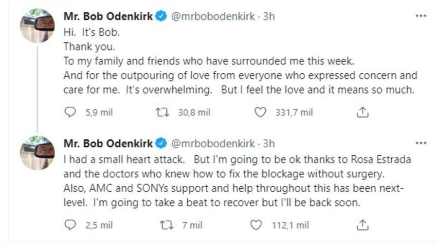 Mensaje de Bob Odenkirk tras el infarto