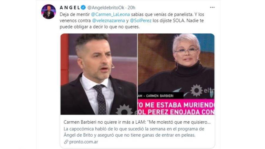 Angel de Brito cruzo a Carmen Barbieri