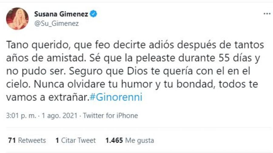 Despedida Susana Gimenez por muerte de Gino Renni