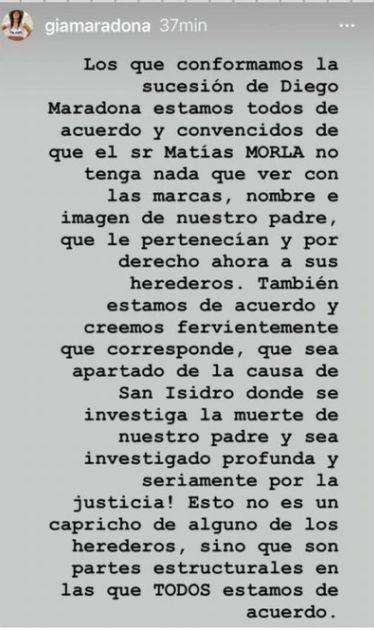 Fuertísimo comunicado de todos los hijos e hijas de Diego Maradona contra Matías Morla