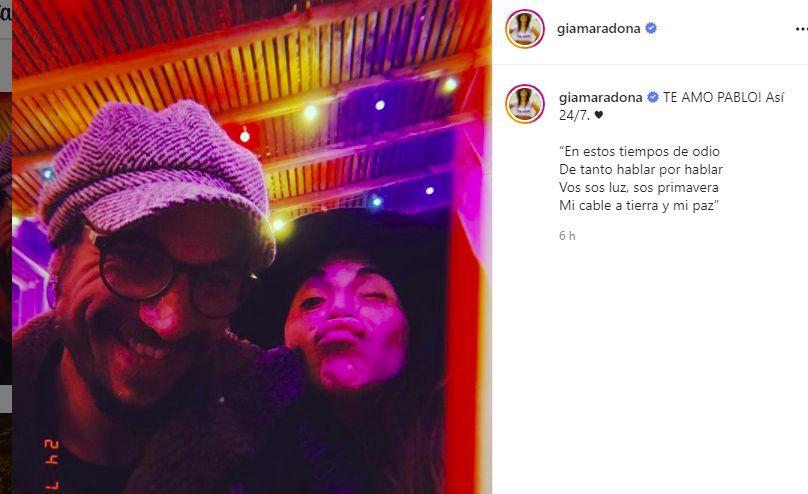 Gianinna Maradona le dedicó un romántico mensaje a Daniel Osvaldo