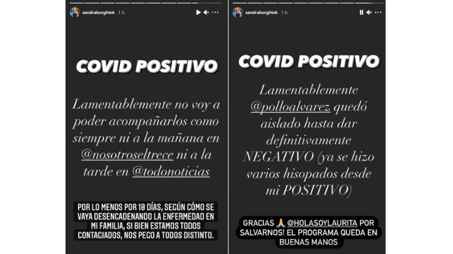 Sandra Borghi Covid positivo