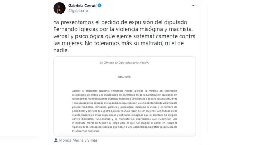 Gabriela Cerruti contra Fernando Iglesias por Florencia Pena