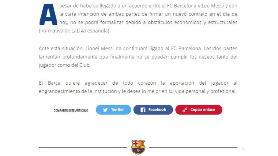 Comunicado Messi afuera del Barcelona