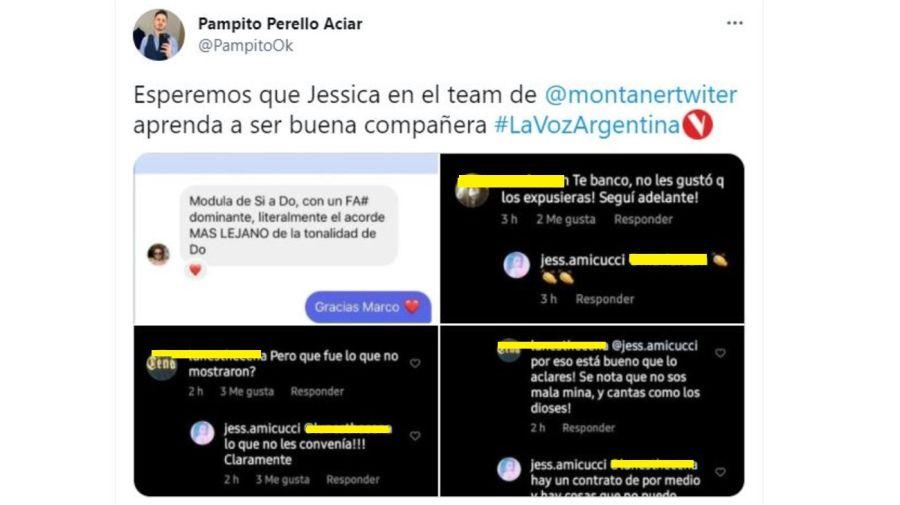 Mensajes Jessica contra Mau y Ricky y la produccion de La Voz Argentina
