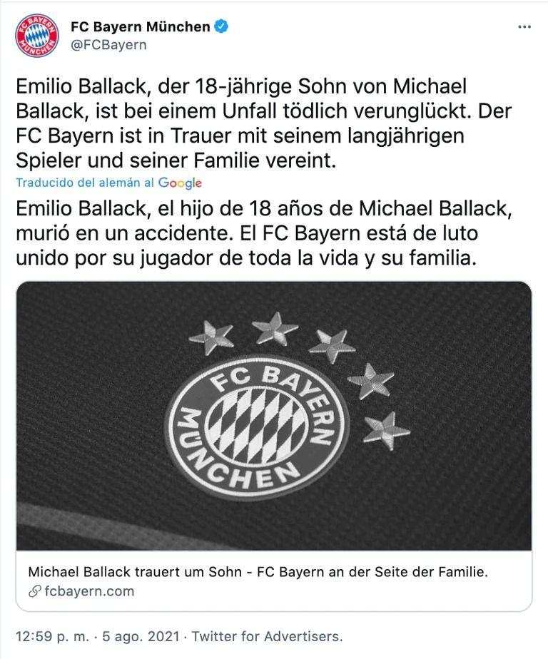 En un accidente de cuatriciclo, murió el hijo de 18 años de Michael Ballack