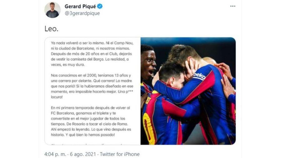 Gerard Pique mensaje a Messi