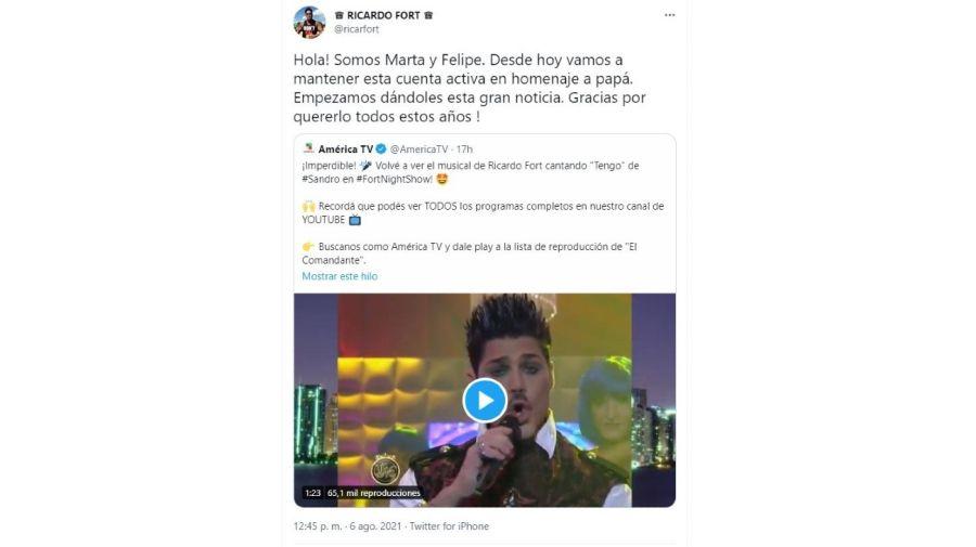 Marta y Felipe Fort tomaron la cuenta de Twitter de Ricardo