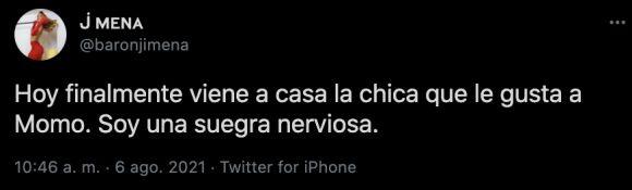 El tweet de Jimena Barón sobre la novia de Momo