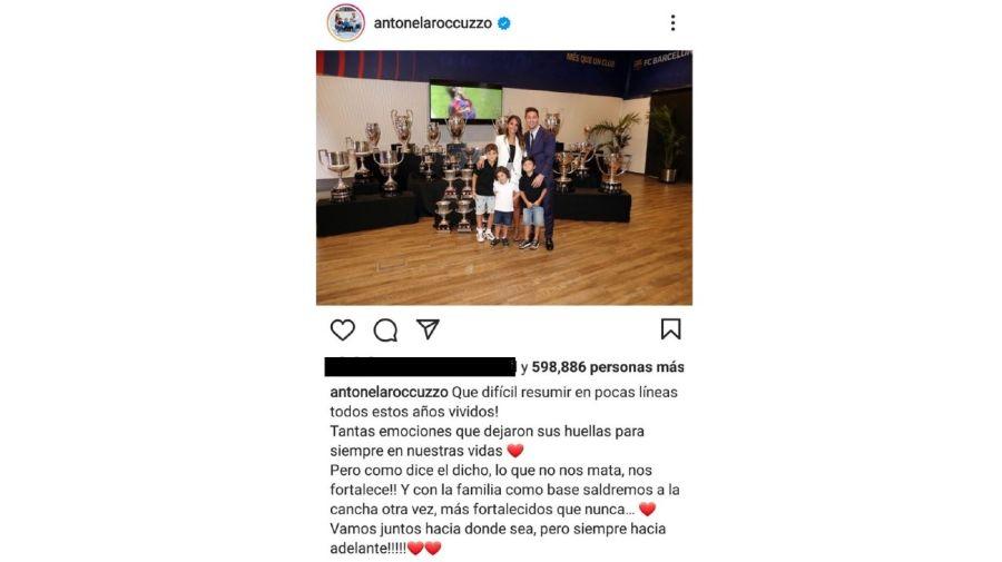 Leo Messi, Antonela Roccuzzo y sus hijos posteo