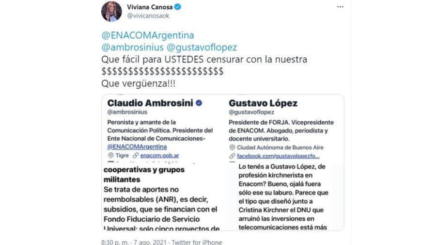 respuesta Viviana Canosa al ENACOM