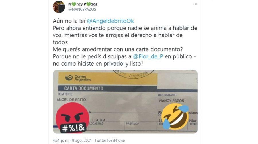 Nancy Pazos respuesta a la carta documento de Nancy Pazos