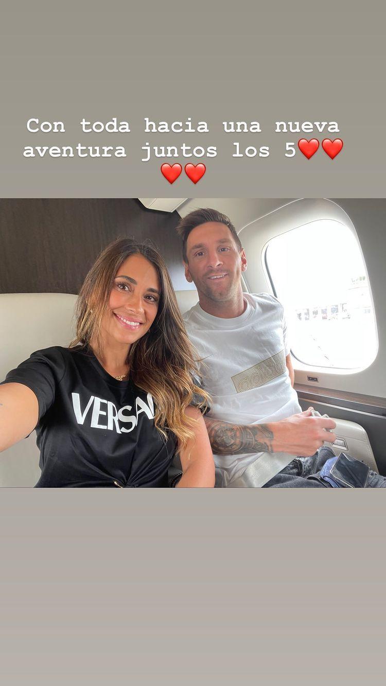 Antonela Roccuzzo junto a Messi hacía París: