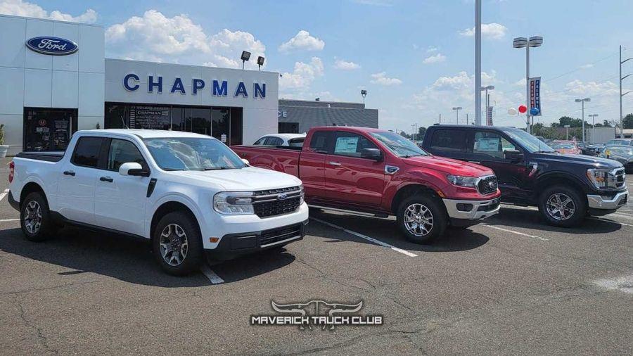 Ford Maverick junto a Ranger y F-150