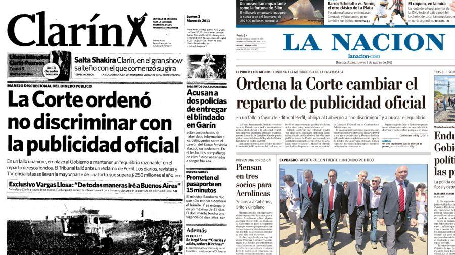 La sentencia de la Corte Suprema fue título de tapa de Clarín y La Nación.