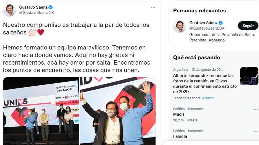 Gustavo Sáenz Gobernador de la Provincia de Salta 20210816