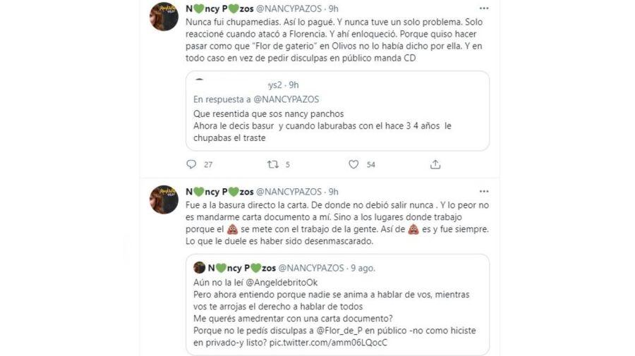 Respuesta Nancy Pazos a la carta documento de Angel de Brito