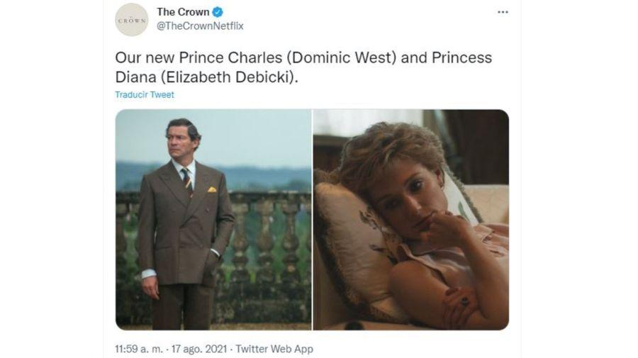 Elizabeth Debicki y Dominic West como Lady Di el principe Carlos