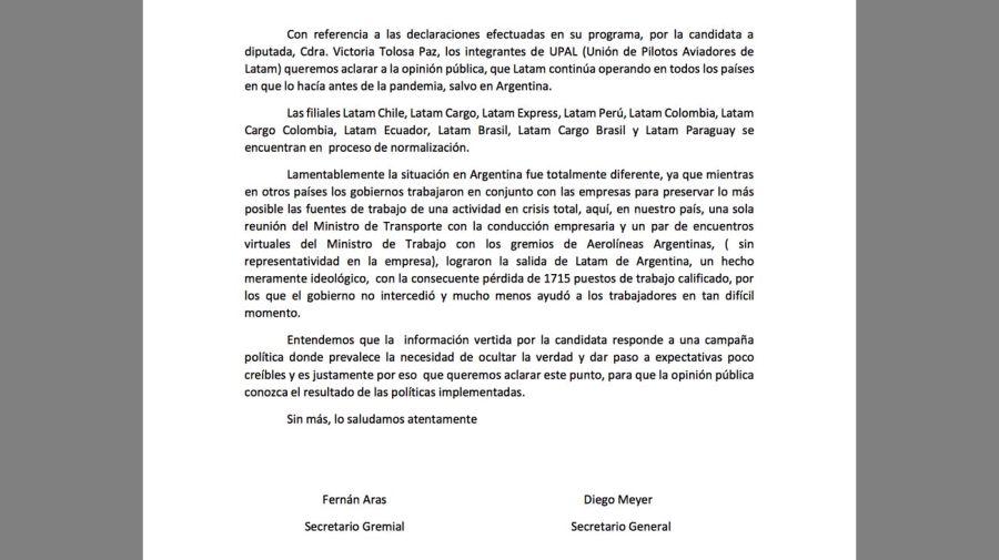 Asunto Tolosa Paz y Latam 20210818