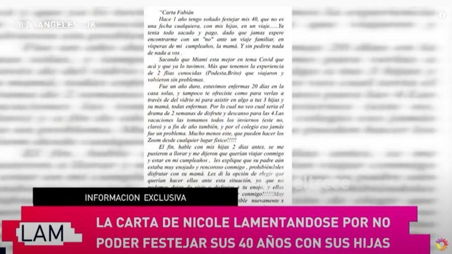 La carta de Nicole Neumann a Fabian Cubero