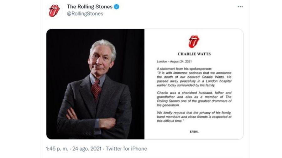 Muerte Charlie Watts
