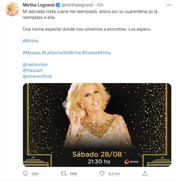 El esperado regreso de Mirtha Legrand a la TV