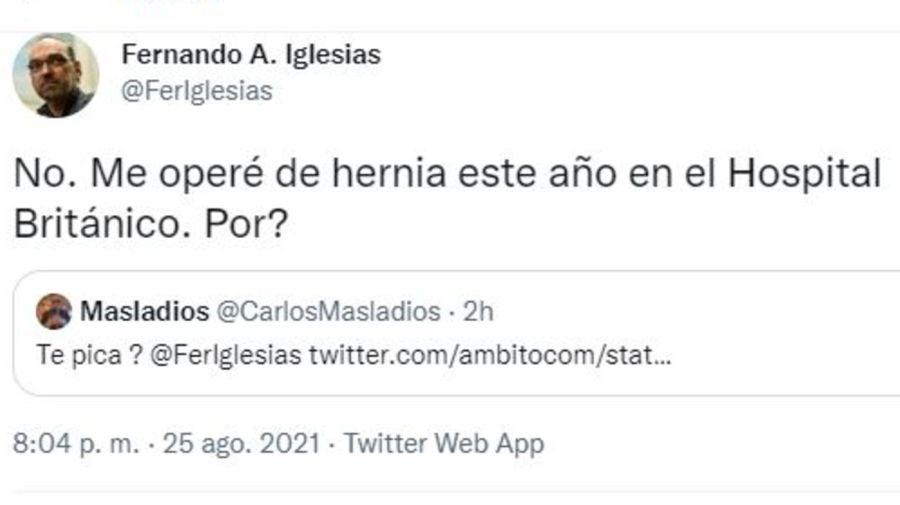 Respuesta Fernando Iglesias mano en el pantalon