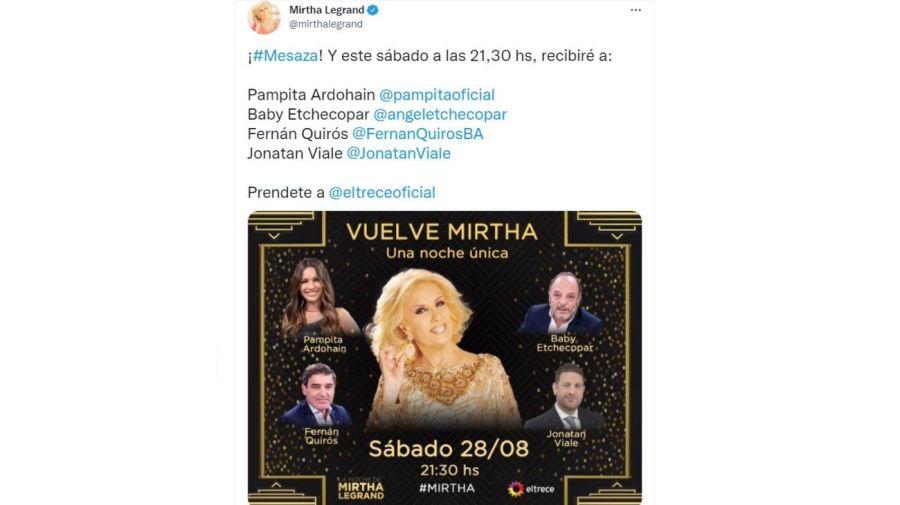 La vuelta de Mirtha Legrand a la TV