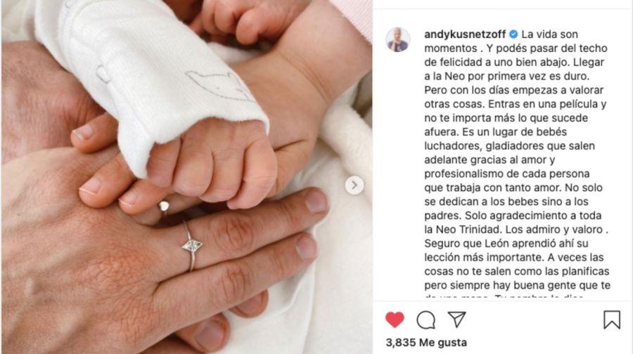NacióLeón, el hijo de AndyKusnetzoffy Florencia Suarez
