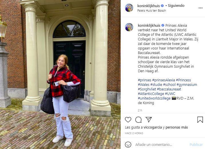 Alexia de Holanda ya está en Gales para iniciar su ciclo lectivo en un internado