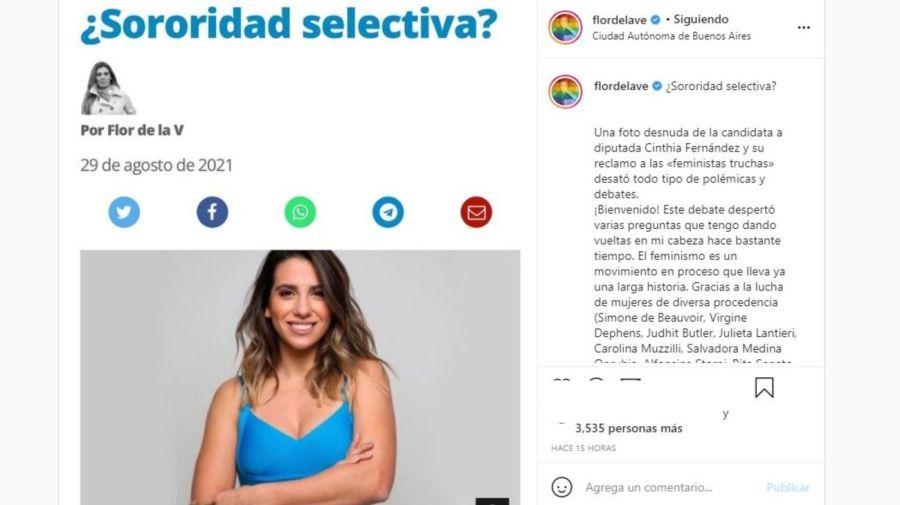 Analisis Florencia de la V sobre Cinthia Fernandez