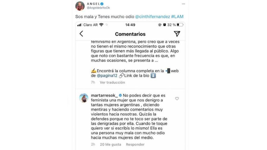 Mensaje Mar Tarres contra Cinthia Fernandez